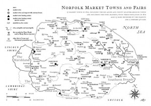 Map of Norfolk towns and fairs
