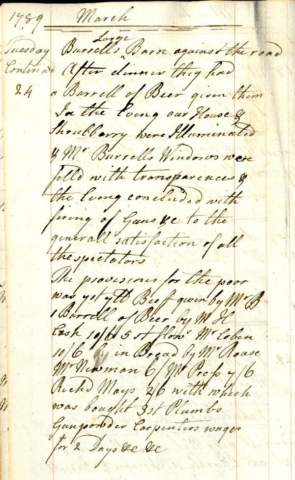 Mary Hardy's diary, 24 March 1789