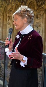 Margaret Bird welcomes the guests