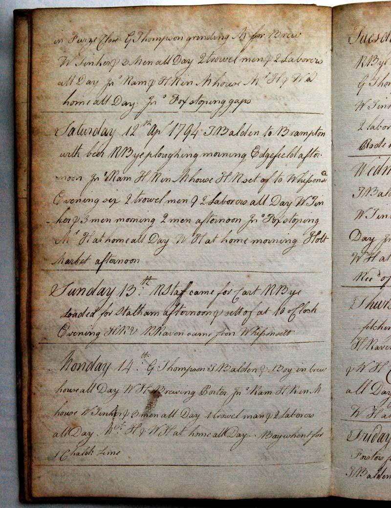 Henry Raven's diary April 1794