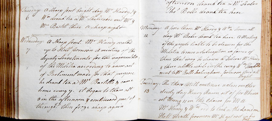 Mary Hardy's diary, Militia Dec. 1796