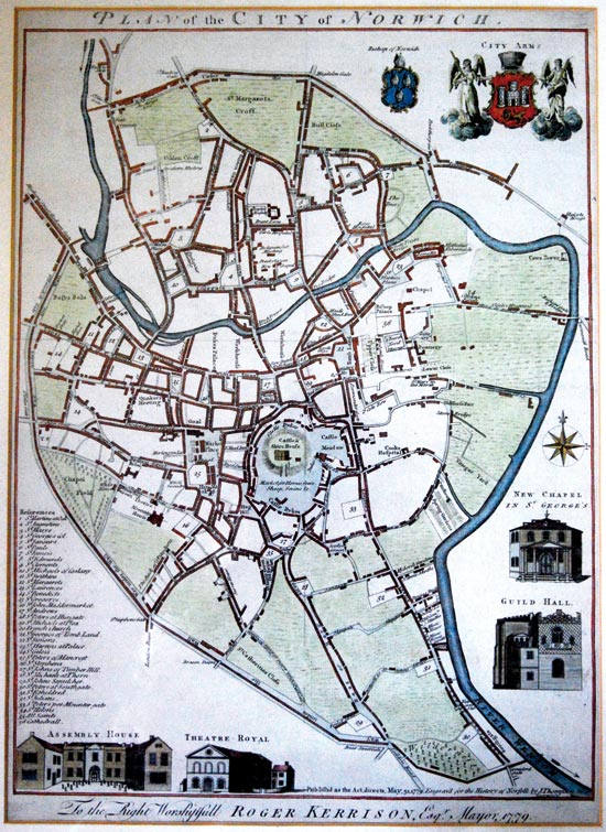Norwich map 1779 in colour